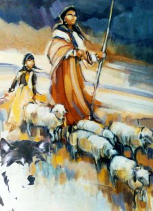 The Shepherd confronting the wolf
